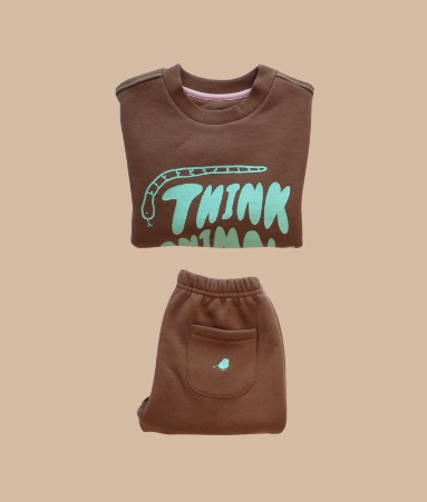 [THINK ANIMALS] Warm sweat shirt_Brown