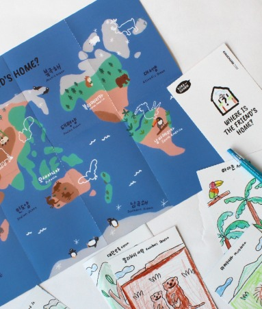 [PLAY KIT] Map Coloring Paper + Sticker