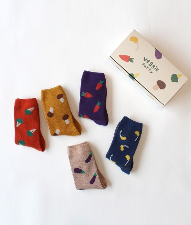 [ANKLE] Veggie Party 5 Pairs 1SET